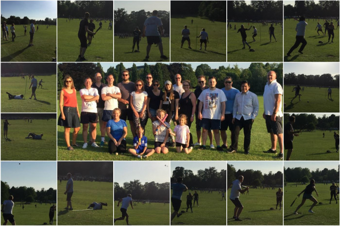 Some of the Line Up Aviation Team having fun in the sun with a game of rounders